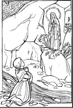 "Our Lady of Lourdes and Saint Bernadette ""I am the Immaculate Conception"" coloring page.  Coloriage Notre Dame de Lourdes 
