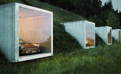 #Contemporary #garage built into the hillside, perfect for showcasing a rare and #vintage #car collection