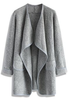 Just Knitted Open Coat in Grey - Retro, Indie and Unique Fashion