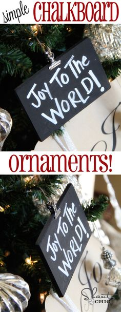 DIY Chalkboard #Christmas Ornaments from Shanty-2-Chic.com // So fun!