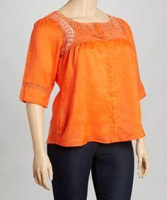 Orange Crochet Linen Tunic - Plus #zulily #zulilyfinds