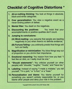 Thinking rationally? Checklist of Cognitive Distortions. (CBT & understanding your thought processes: anxiety, stress, panic, depression) Cognitive Distortions, Cognitive Behavioral Therapy, Coaching, Mental Health Counseling, Therapy Tools, Cbt Therapy, School Psychology, Psychology Terms, Positive Psychology