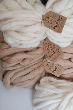 Pudgy Huge Super Chunky & Super Bulky Merino Wool Yarn by MANUOSH (((IN DARK GREY OR BLUSH PINK)))