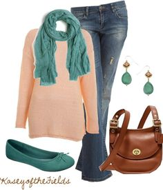 """""""Peach and Sea Glass"""" by kaseyofthefields ❤ liked on Polyvore"""