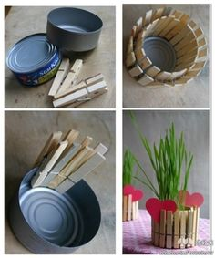 How to make beautiful planting pot with cans and clips step by step DIY tutorial instructions, How to, how to do, diy instructions, crafts, do it yourself, diy website, art project ideas