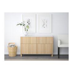 BESTÅ Úložná zostava so zásuvkami - Lappviken bielo morený dubový vzor, jazdec zásuvky, stláčací otv mech - IKEA