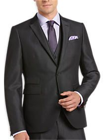Alta Moda Charcoal Pinstripe Extreme Slim Fit Vested Suit