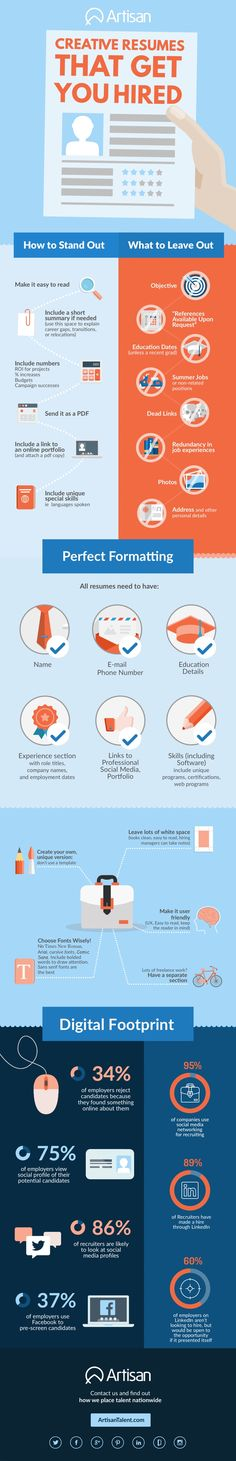 Creative Resumes That Get You Hired #Infographic #Career #Resume