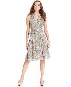 Evan Picone Dress, Sleeveless Lace-Print A-Line
