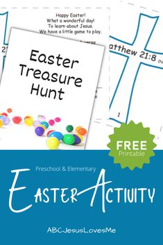 Looking for a fun activity for the kiddos this Easter? Enjoy a memorable Scavenger Hunt. FREE Printable with Directions and Clue Cards (two levels of difficulty) to all Subscribers! Or available to purchase for only $3. #Easteractivities #EasterTreasureHunt #ScavengerHunt #PreschoolEaster #ABCJesusLovesMe Easter Activities, Fun Activities, Little Games, Teaching Kids, Free Printables, How To Memorize Things, Preschool, Learning, Kindergarten