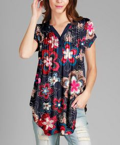 Love this Blue & Pink Floral Pleated Notch Neck Tunic - Plus on #zulily! #zulilyfinds