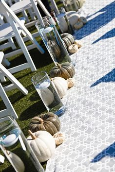 Aisle Decor: Neutral-Colored Pumpkins + Modern Graphic Aisle Runner. Photography by JanGarcia.com