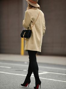 Khaki Long Sleeve Lapel Coat -SheIn(Sheinside)