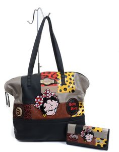 Betty Boop Faux Leather Multi Printed Patch Detail Tote Bag Purse and Wallet SET Betty Boop Purses, Purses And Handbags, Diaper Bag, Tote Bag, Wallet, Classic, Clutches, Prints, Bb