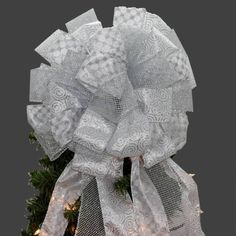 Silver Sparkle Mesh Swirl Christmas Tree Topper Bow
