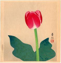 Lotto 00116 N.1 xilografia shin-hanga Mochizuki Harue TULIPANO Anno: 1984 Condizioni: ottime Dimensioni: 27,5 x 28,5 cm