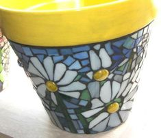 Mosaic Hand Tiled Flower Pot Terra Cotta by TexasTilers on Etsy Mosaic Planters, Mosaic Vase, Mosaic Flower Pots, Flower Pot Crafts, Clay Pot Crafts, Mosaic Crafts, Mosaic Projects, Mosaic Ideas, Broken China Crafts