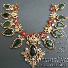 Flat Diamond emarald necklace by Tibarumal jewellers - Latest Jewellery Designs Indian Jewellery Design, Latest Jewellery, Jewelry Design, Fashion Jewellery, Women's Fashion, Emerald Jewelry, Gold Jewelry, Diamond Jewellery, Diamond Necklaces