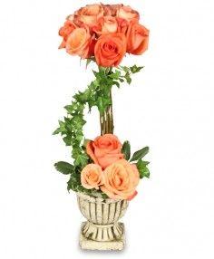 Peach Rose Topiary