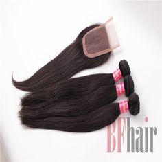 BF Hair 3PCS Brazilian Virgin Hair Straight hair With 1Piece Lace Top Closure,4PCS Lots Best Match 6A Grade - BF Hair