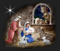 Baby Jesus in Manger Scene Merry Christmas, Christmas Nativity Scene, Christmas Music, Vintage Christmas Cards, Christmas And New Year, Christmas Time, Nativity Scenes, Christmas Manger, Christmas Scenery