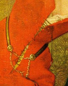 Detail from Hugo van der Goes, c. 1470 Massacre of the Innocents. A rather plain demicient belt with an unusual deployment of the chain.