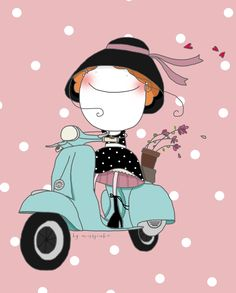 Miss Pink. Art Drawings For Kids, Easy Drawings, Art For Kids, Vespa Illustration, Graphic Design Illustration, Cute Images, Cute Pictures, Bike Art, Cute Wallpapers