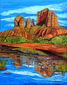 Cathedral Rock Sedona Arizona - Oils Art Painting Mountain Art, Sedona Arizona, Nature Animals, Oceans, Rivers, Cathedral, Sunshine, Oil, Fine Art