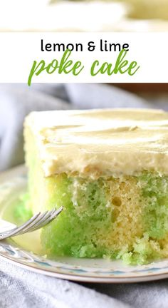 Lemon lime jello poke cake using lemon box mix and a dream whip homemade frosting This cake is easy to make and can be made ahead or frozen Such a refreshing dessert cake pokecake lemoncake lemon dessert recipe # Lemon Jello Cake, Jello Cake Recipes, Poke Cake Jello, Dessert Recipes, Lime Jello Cake Recipe, Lemon Poke Cakes, Lemon Lime Cake Recipe, Poke Recipe, Refreshing Desserts