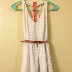 White eyelet racer back dress Only worn once. Above the knee Sequin Hearts Dresses