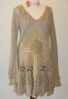 Hippie girl , mori girl, tea stained crocheted dress with antique and vintage lace.