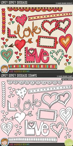 Lovey Dovey Doodads by Kate Hadfield Designs. A collection of lovey dovey bits and pieces that are perfect for adding a romantic touch of hand drawn whimsy to your pages and projects! Contains: arrow heart, bookplate, 3 doodle strips, entwined hearts, 4 other hearts, 2 'love' wordart pieces, book corner, row of hearts and cluster of tiny hearts.