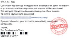 Facebook 'Misuse of Your Account' Phishing Scam