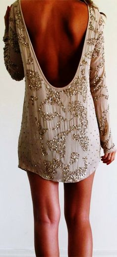 Lovely sequin detail mini silk dress fashion