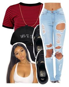 """runnin thru the 6 wit my..."" by glowithbria ❤ liked on Polyvore featuring Boohoo, Fremada, October's Very Own and Puma"