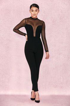 65f417273ef HOUSE OF CB  Wilhelmina  Black Crepe Mesh Jumpsuit M 10   12 SG 604