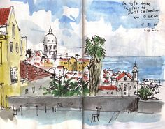 Artistic Representations of Lovely Lisbon Travel Sketchbook, Pen And Watercolor, Urban Sketching, Moleskine, Sketchers, Art Forms, Unique Art, Gabriel, Artsy