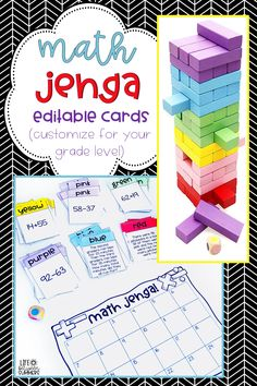 Colorful Jenga Math Game Cards that are editable to customize for your grade level. Has game cards for Addition, Subtraction, 2 Digit Addition, and 3 Digit Addition with number sentences and word problems (available separately or in a growing bun Maths 3e, Math Literacy, Homeschool Math, Guided Math, Teaching Math, Math Math, Numeracy, Math Games For Kindergarten, Mathematics Games