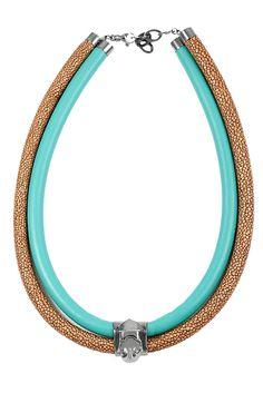 Giuliana Mancinelli Bonafaccia - Leather Necklace with silver dipped in black ruthenium