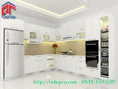 Tủ bếp Acrylic sử dụng bếp đảo trung tâm làm điểm nhấn cho không gian bếp TBX077