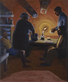 Gerard Sekoto (South African; Social Realism, Urban Black Art; 1913-1993): Family with Candle, 1942. Oil on canvas 61 x 51 cm. Private Collection.