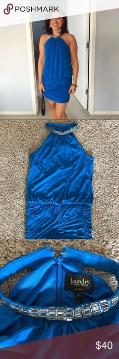 Laundry By Shelly Segal Bead Neck Halter Dress, 4 Beautiful Laundry By Shelly Segal Bead Neck Halter Dress! I only wanted one time. Could fit size Small to Medium. Excellent condition Laundry by Shelli Segal Dresses Mini