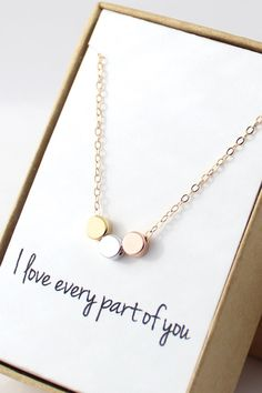 Tiny Circles Necklace - Simple Modern Necklace - Gold, Rose Gold, and Silver Circles Necklace - Dainty Small Necklace - Valentines Day Gift