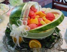 Watermelon Fruit Basket Fruit Basket Watermelon, Watermelon Carving, Fruit Salad, Watermelon Ideas, Fruit Baby Carriage, Watermelon Baby Carriage, Baby Shower Fruit, Summer Baby, Fun Baby