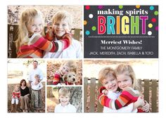 Bright Confetti Chalkboard Collage Christmas Photo Card