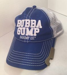 ba3dae43d Bubba Gump Shrimp Co Blue Trucker Hat Snap Back Bottle Opener Brim Mesh Back