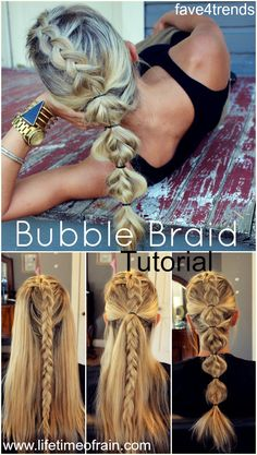 Haar-Tutorial / / Bubble Braid - New Site Love Hair, Great Hair, Gorgeous Hair, Pretty Hairstyles, Girl Hairstyles, Braided Hairstyles, Softball Hairstyles, Workout Hairstyles, Hairstyles Videos