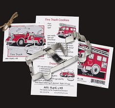 Fire Truck Cookie Cutter Fire Engine Tin Cookie Cutters recipe card Gift Set baking supplies party favors Firefigher cookies foundant treats by swigshoppe on Etsy https://www.etsy.com/listing/229877440/fire-truck-cookie-cutter-fire-engine-tin