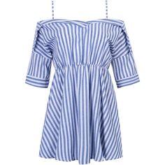 Blue Stripe Off Shoulder Half Sleeve Dress (360.740 IDR) ❤ liked on Polyvore featuring dresses, vestidos, платья, blue off shoulder dress, blue striped dress, off shoulder dress, striped cotton dress and stripe dresses