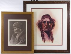 Lot 284: Native American Portrait Prints; Two items including a printed photograph of Geronimo and a printed male portrait having both a printed and a pencil signature of deLarson and numbered 293/300